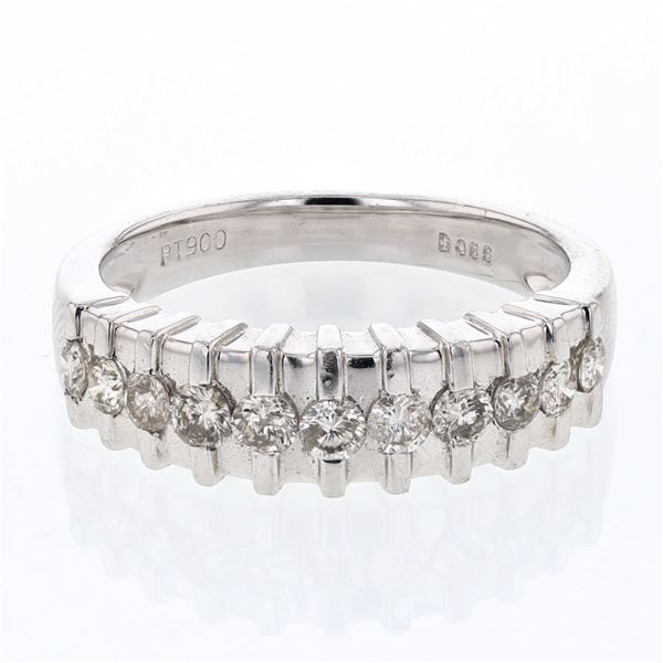 Natural 0.59 CTW Diamond Band Ring Platinum - REF-139M5F