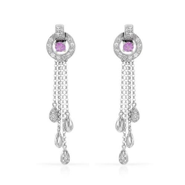 Natural 1.05 CTW Pink Sapphire & Diamond Earrings 14K White Gold - REF-83R7K