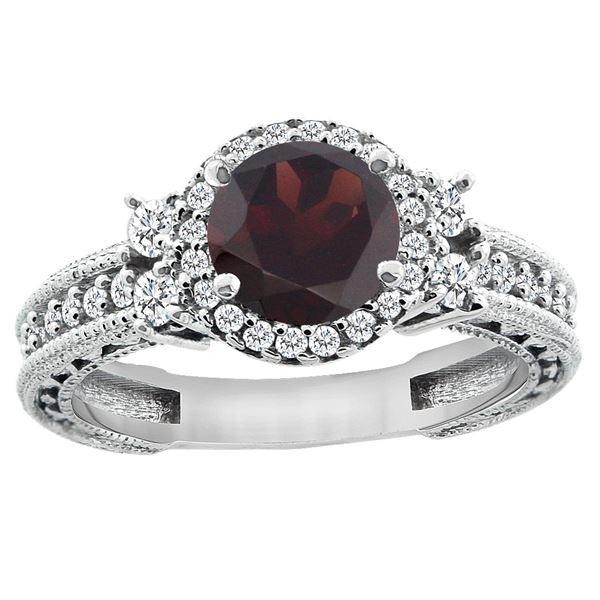 1.46 CTW Garnet & Diamond Ring 14K White Gold - REF-77M9A