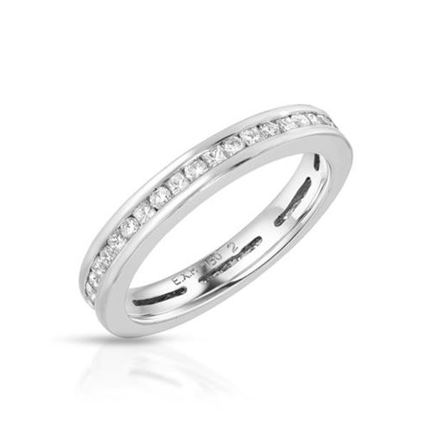Natural 0.76 CTW Diamond & Princess Diamond Ring 18K White Gold - REF-122R4K