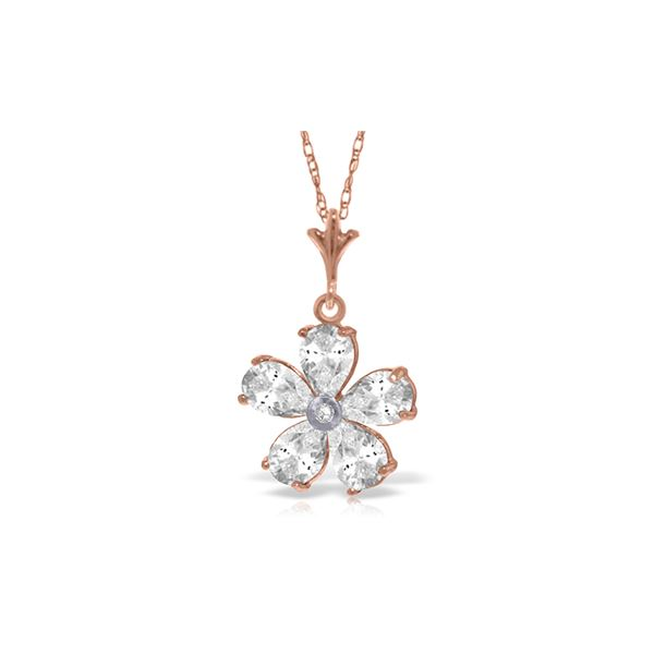 Genuine 2.22 ctw White Topaz & Diamond Necklace 14KT Rose Gold - REF-23Y5F