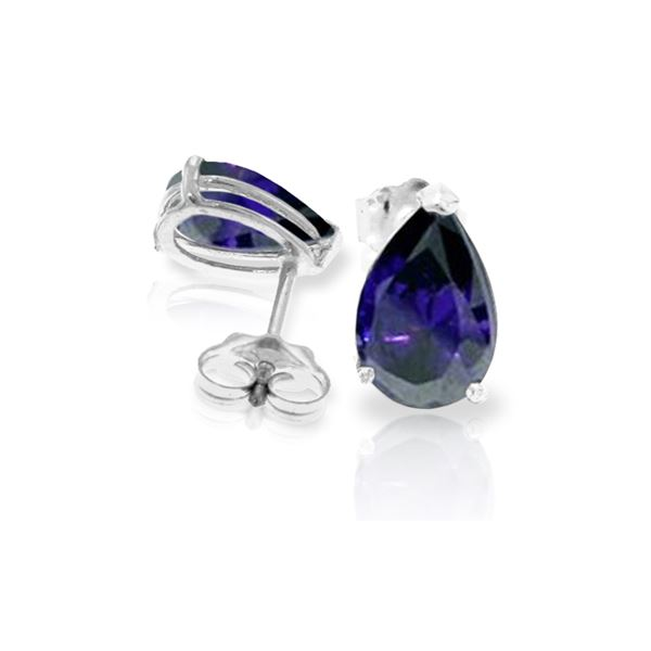 Genuine 3 ctw Sapphire Earrings 14KT White Gold - REF-29T2A
