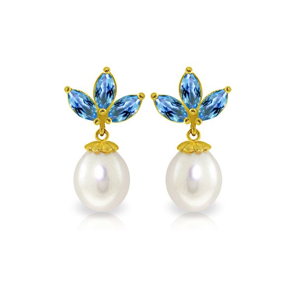 Genuine 9.5 ctw Blue Topaz & Pearl Earrings 14KT Yellow Gold - REF-31T2A