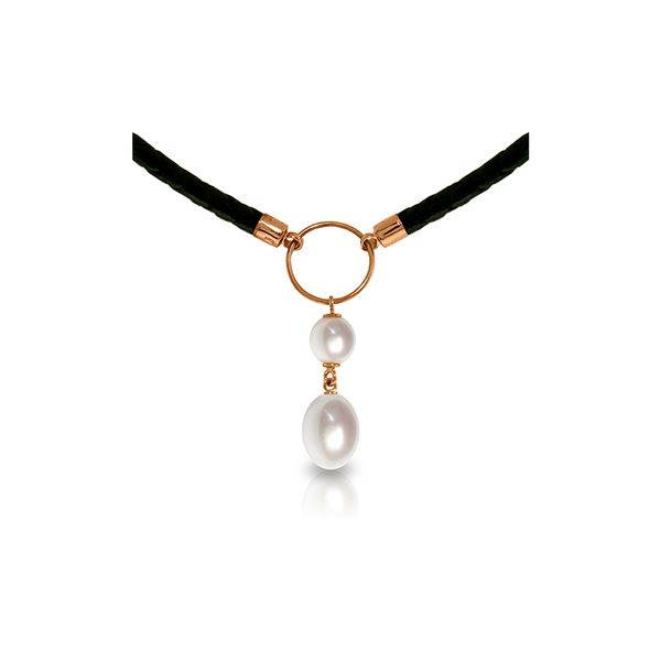 Genuine 6 ctw Pearl Necklace 14KT Rose Gold - REF-47A8K
