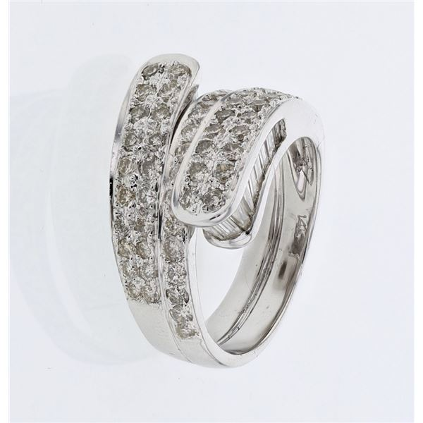 Natural 2.56 CTW Baguette & Diamond Ring W=12MM 14K Gold - REF-243X2T