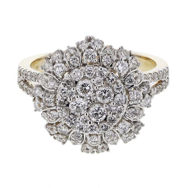 Natural 1.32 CTW Diamond Ring 14K Yellow Gold - REF-151R2K