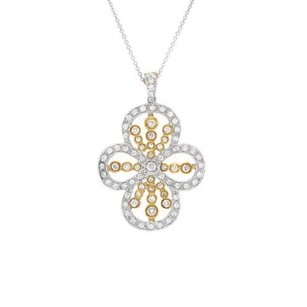 Natural 1.15 CTW Diamond Necklace 18K Two Tone Yellow Gold - REF-204R3K