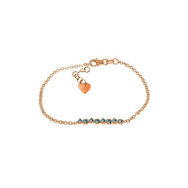 Genuine 1.55 ctw Blue Topaz Bracelet 14KT Rose Gold - REF-55H3X