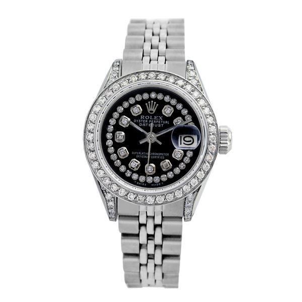 Rolex Pre-owned 26mm Womens Custom Black String Diamonds Stainless Steel