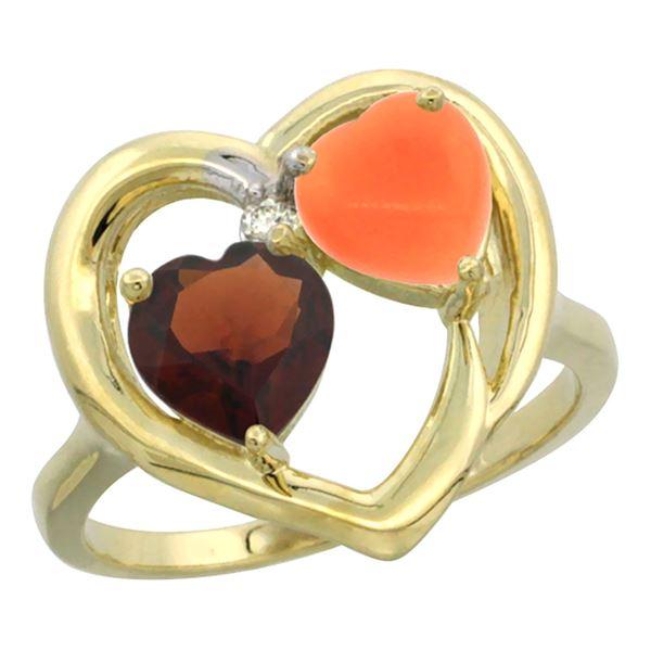 1.31 CTW Garnet & Diamond Ring 10K Yellow Gold - REF-23V5R