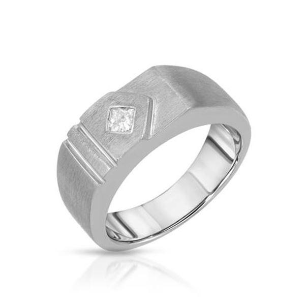 Natural 0.20 CTW Princess Diamond Band Ring 14K White Gold - REF-119X7T