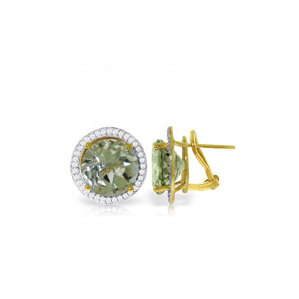 Genuine 10.40 ctw Amethyst & Diamond Earrings 14KT Yellow Gold - REF-120W5Y