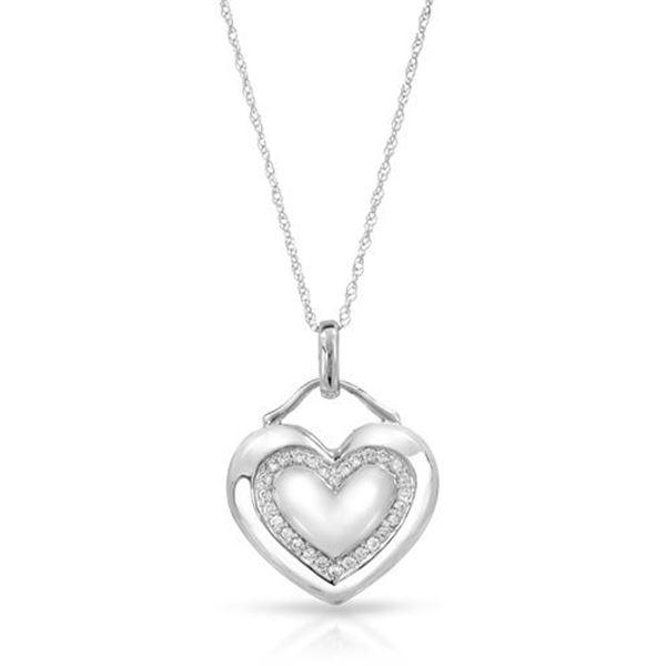 Natural 0.17 CTW Diamond Necklace 14K White Gold - REF-47M7F