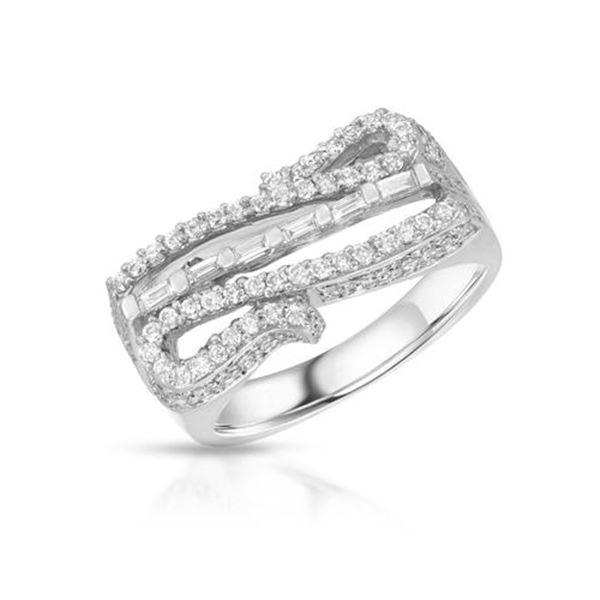 Natural 1.10 CTW Diamond & Baguette Ring 18K White Gold - REF-206M3F