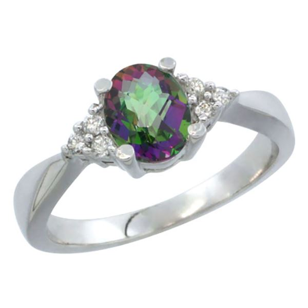 1.06 CTW Mystic Topaz & Diamond Ring 14K White Gold - REF-36Y9V