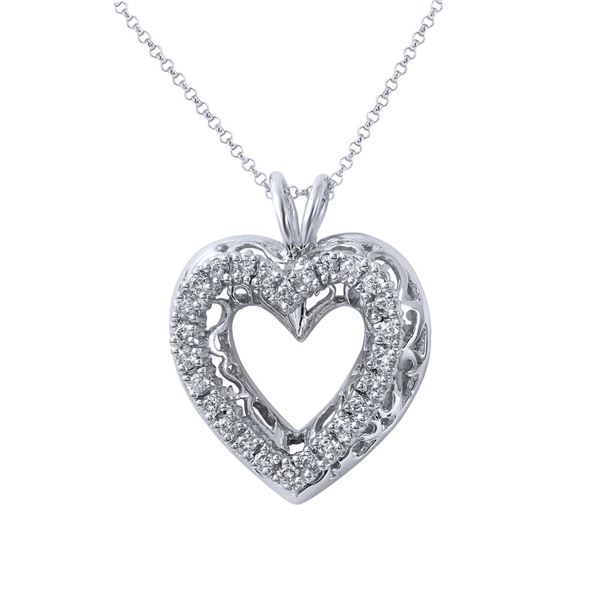 Natural 0.68 CTW Diamond Necklace 14K White Gold - REF-120X6T