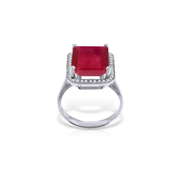 Genuine 7.45 ctw Ruby & Diamond Ring 14KT White Gold - REF-119T7A
