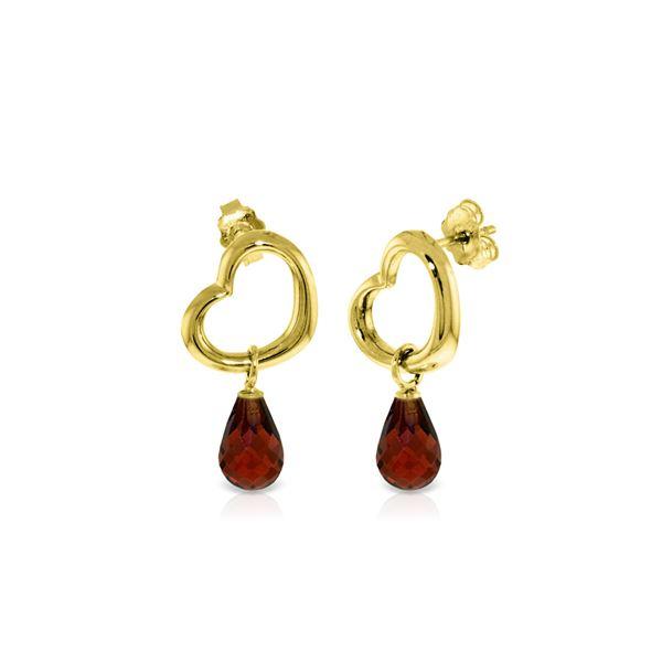 Genuine 4.5 ctw Garnet Earrings 14KT Yellow Gold - REF-42H6X