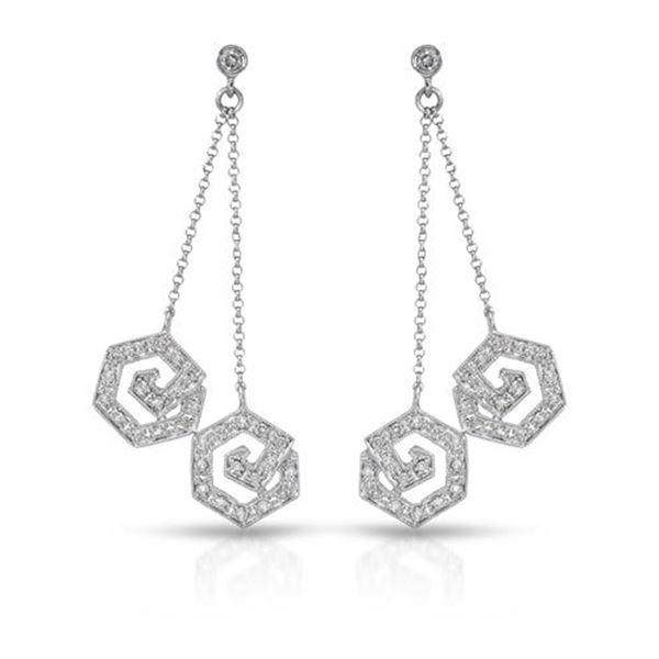 Natural 0.62 CTW Diamond Earrings 14K White Gold - REF-81M2F