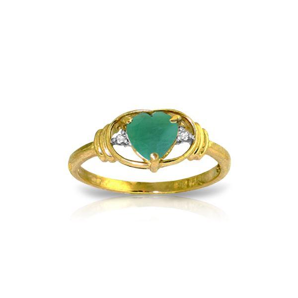Genuine 1.01 ctw Emerald & Diamond Ring 14KT Yellow Gold - REF-49W2Y