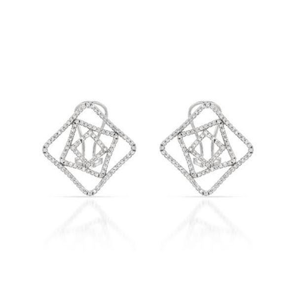 Natural 0.88 CTW Diamond Earrings 18K White Gold - REF-153R2K