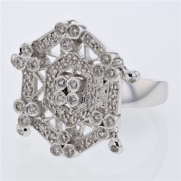 Natural 0.89 CTW Diamond Ring 14K White Gold - REF-133X2T
