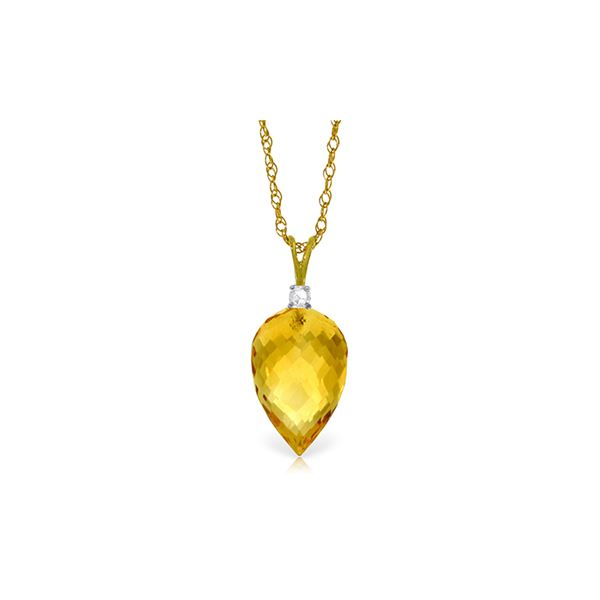 Genuine 9.55 ctw Citrine & Diamond Necklace 14KT Yellow Gold - REF-25R3P