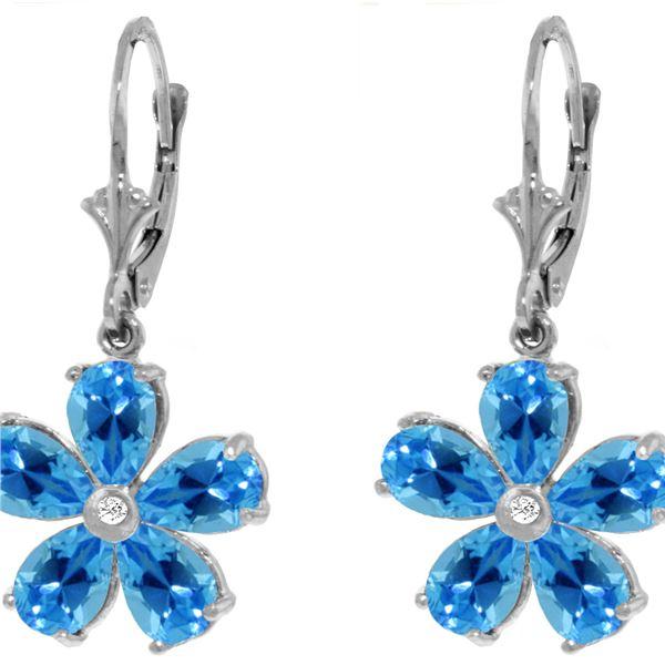 Genuine 4.43 ctw Blue Topaz & Diamond Earrings 14KT White Gold - REF-49Z8N