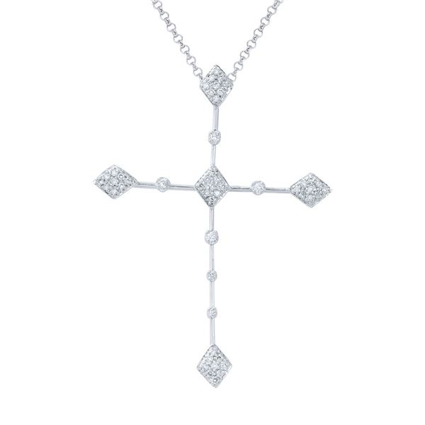 Natural 0.38 CTW Diamond Necklace 14K White Gold - REF-63R9K
