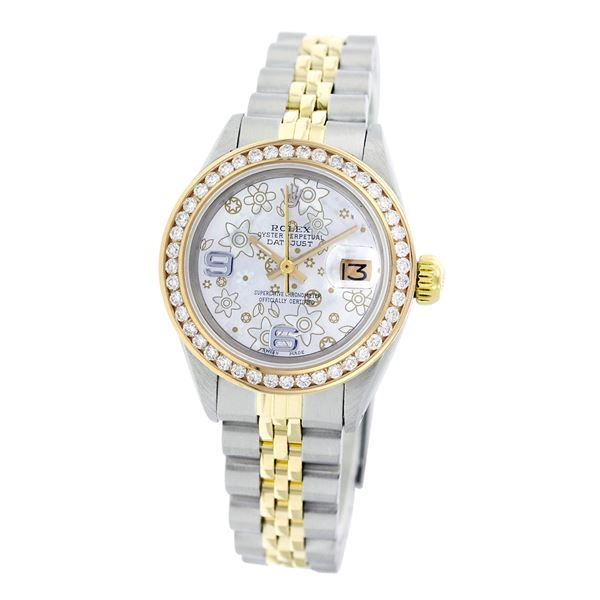 Rolex Pre-owned 26mm Womens Custom Flower with 9 & 6 Marker Two Tone