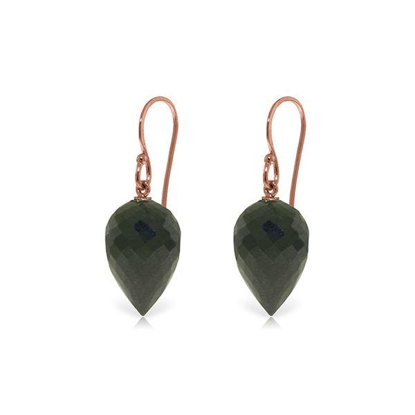 Genuine 24.5 ctw Black Spinel Earrings 14KT Rose Gold - REF-26F2Z