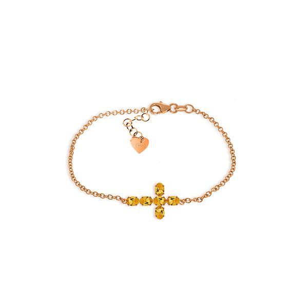 Genuine 1.70 ctw Citrine Bracelet 14KT Rose Gold - REF-59Y8F