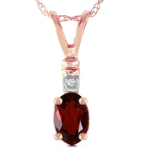 Genuine 0.46 ctw Garnet & Diamond Necklace 14KT Rose Gold - REF-21K6V