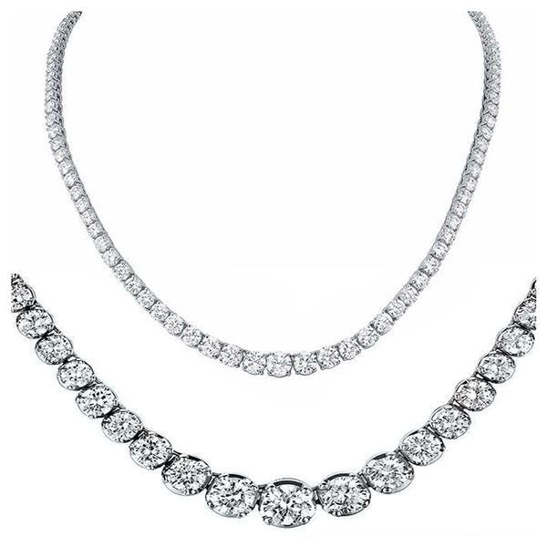 Natural 14.15CTW VS2/I-J Diamond Tennis Necklace 14K White Gold - REF-1342M8F