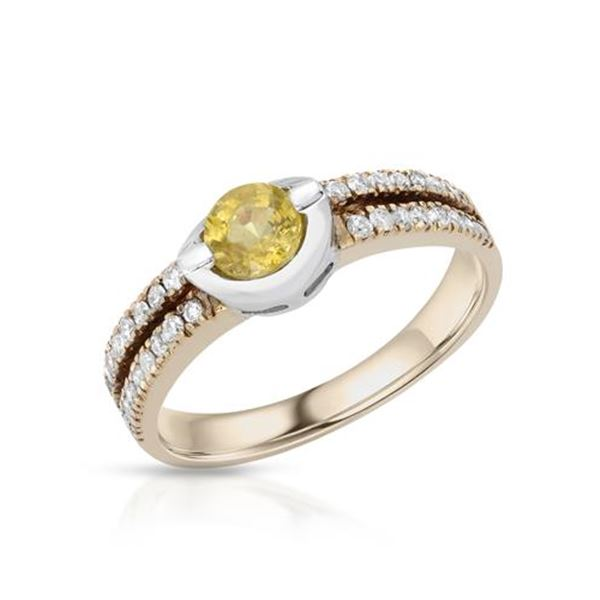 Natural 0.94 CTW Yellow Sapphire & Diamond Ring 18K Two Tone Rose Gold - REF-72M2F