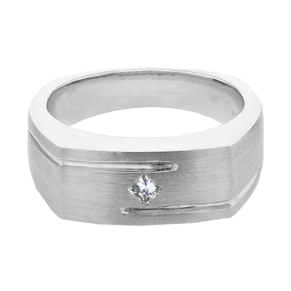 Natural 0.16 CTW Princess Diamond Ring 14K White Gold - REF-93M6F