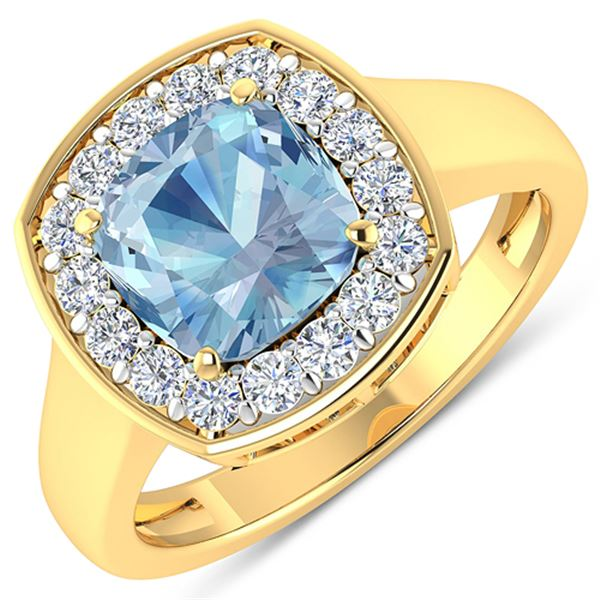 Natural 2.18 CTW Aquamarine & Diamond Ring 14K Yellow Gold - REF-79N7R