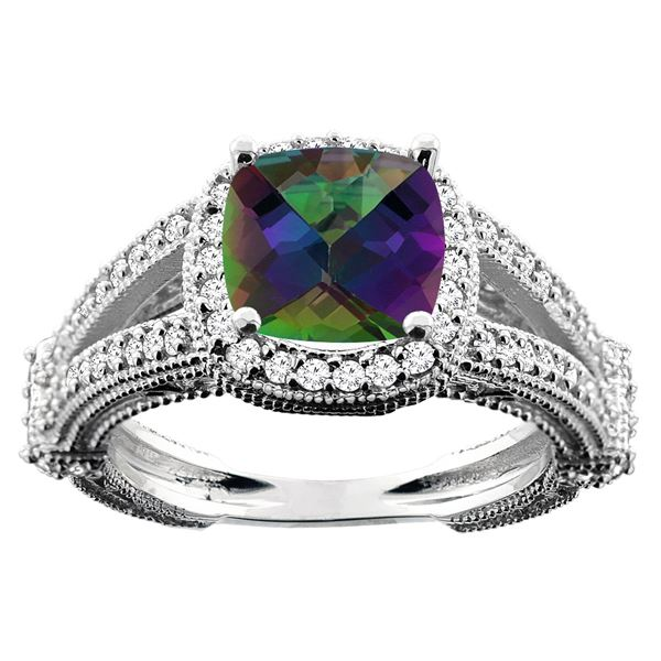 4.10 CTW Mystic Topaz & Diamond Ring 14K White Gold - REF-55M3A