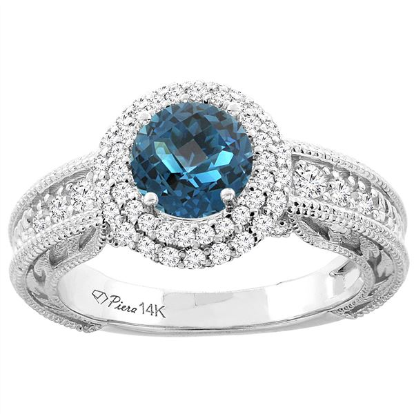 1.45 CTW London Blue Topaz & Diamond Ring 14K White Gold - REF-86W7F