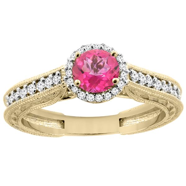 1.24 CTW Pink Topaz & Diamond Ring 14K Yellow Gold - REF-57Y4V