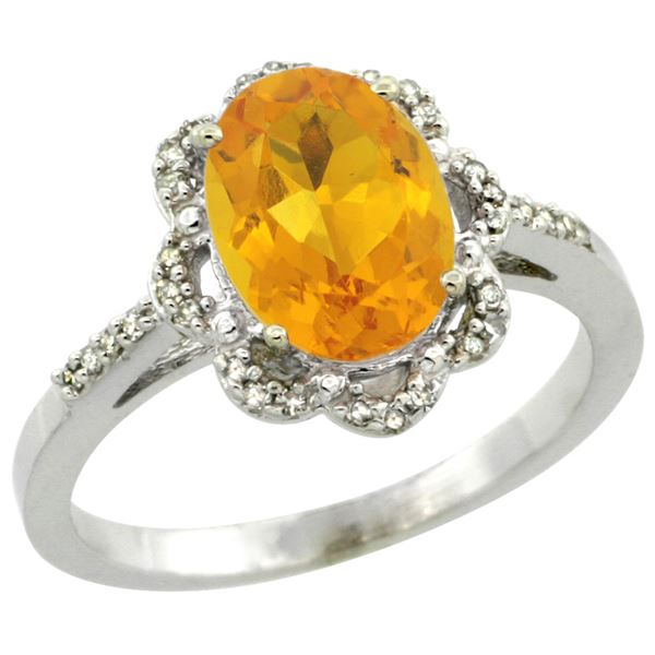 1.94 CTW Citrine & Diamond Ring 14K White Gold - REF-45V8R
