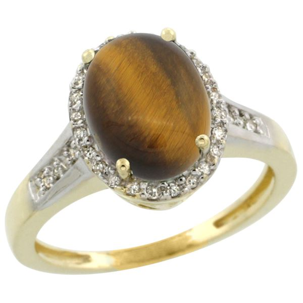 2.60 CTW Tiger Eye & Diamond Ring 14K Yellow Gold - REF-52H7M