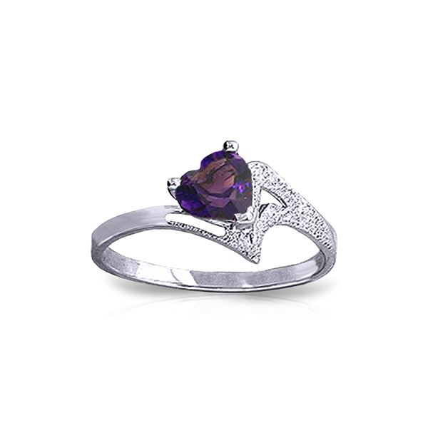 Genuine 0.75 ctw Amethyst Ring 14KT White Gold - REF-35Z9N