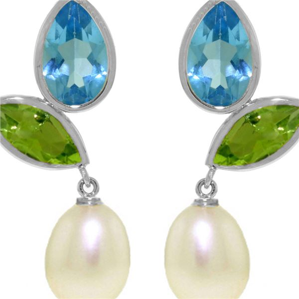 Genuine 16.6 ctw Blue Topaz & Peridot Earrings 14KT White Gold - REF-45M7T