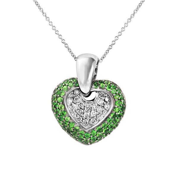 Natural 1.63 CTW Tsavorite & Diamond Necklace 14K White Gold - REF-98X3T