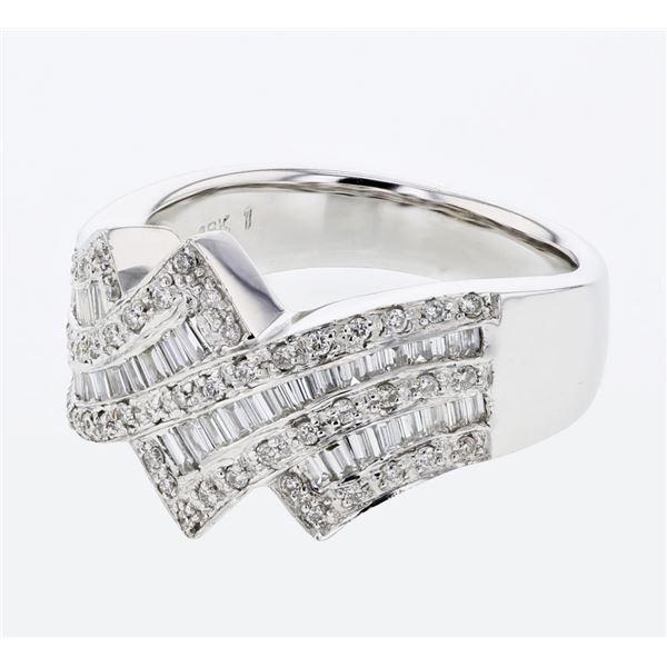 Natural 0.67 CTW Baguette & Diamond Ring 18K White Gold - REF-172X8T