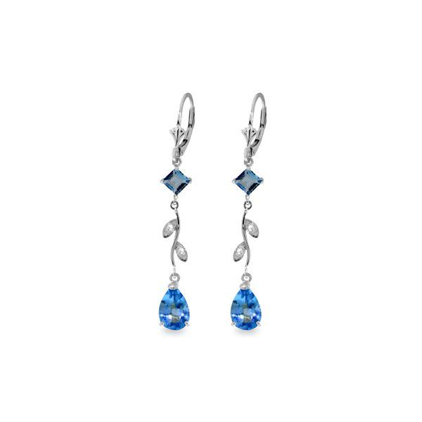 Genuine 3.97 ctw Blue Topaz & Diamond Earrings 14KT White Gold - REF-44K9V