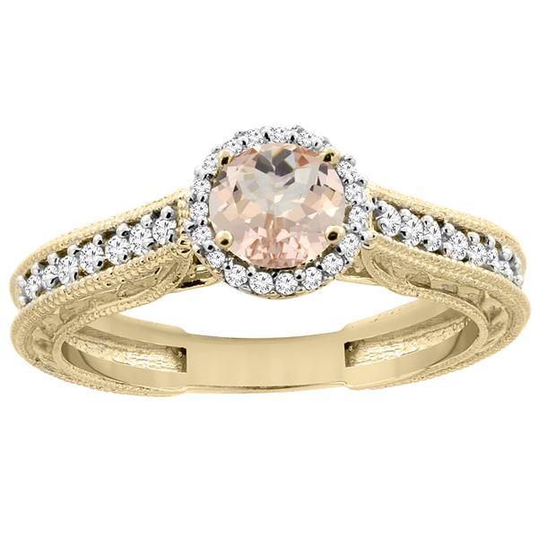 0.94 CTW Morganite & Diamond Ring 14K Yellow Gold - REF-60M3A