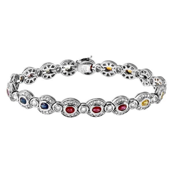 Natural 7.45 CTW Multi-Sapphire & Diamond Bracelet 14K White Gold - REF-419M4F
