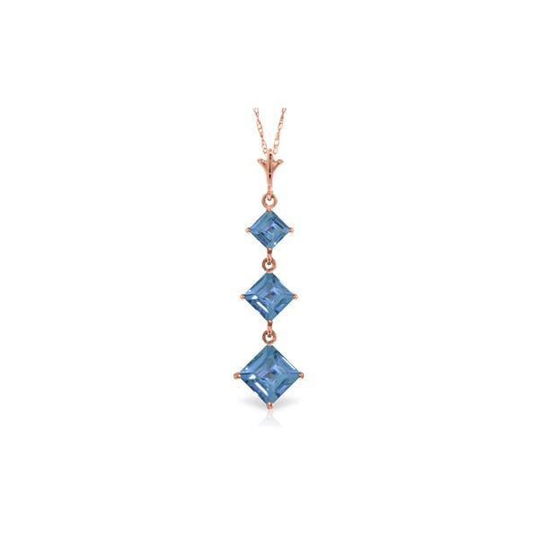 Genuine 2.4 ctw Blue Topaz Necklace 14KT Rose Gold - REF-20F4Z